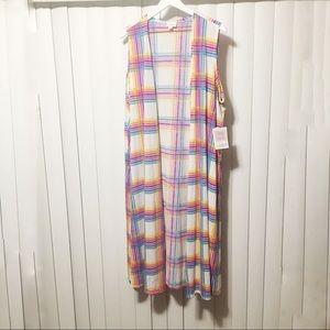 LulaRoe | Joy duster| Rainbow plaid | XL